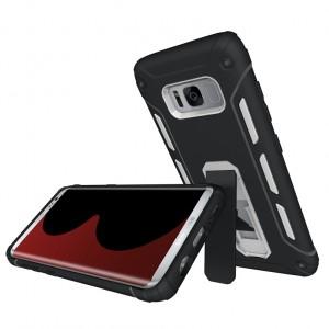 Противоударный двухкомпонентный силиконовый матовый непрозрачный чехол с нескользящими гранями и поликарбонатными вставками экстрим защиты с встроенной ножкой-подставкой для Samsung Galaxy S8