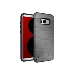 Противоударный двухкомпонентный силиконовый матовый непрозрачный чехол с поликарбонатными вставками экстрим защиты с встроенной ножкой-подставкой и текстурным покрытием Металлик для Samsung Galaxy S8  Серый