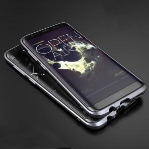 Металлический округлый премиум бампер сборного типа на винтах для Samsung Galaxy S8 Серый