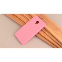 Пластиковый непрозрачный матовый чехол для Meizu M5 Розовый