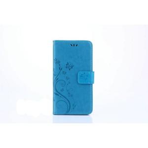 Чехол портмоне подставка текстура Цветы на силиконовой основе с отсеком для карт на магнитной защелке для Huawei Honor 8 Lite  Синий
