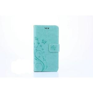 Чехол портмоне подставка текстура Цветы на силиконовой основе с отсеком для карт на магнитной защелке для Huawei Honor 8 Lite  Голубой