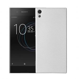 Силиконовый матовый непрозрачный чехол с текстурным покрытием Карбон для Sony Xperia XA1 Белый