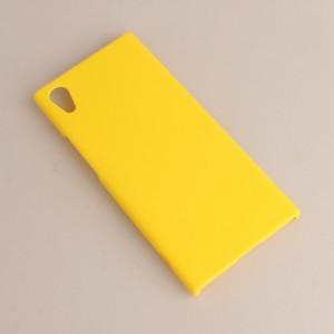 Пластиковый непрозрачный матовый чехол для Sony Xperia XA1 Желтый