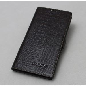 Кожаный чехол горизонтальная книжка подставка текстура Крокодил  с крепежной застежкой для Sony Xperia XA1 Черный