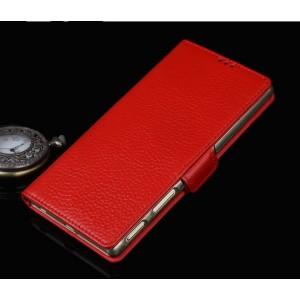 Кожаный чехол горизонтальная книжка подставка (премиум нат. кожа) с крепежной застежкой для Sony Xperia XA1
