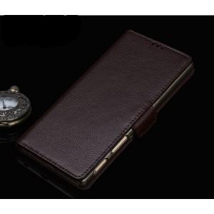 Кожаный чехол горизонтальная книжка подставка (премиум нат. кожа) с крепежной застежкой для Sony Xperia XA1  Коричневый