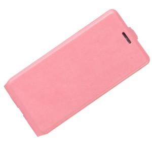 Чехол вертикальная книжка на силиконовой основе с отсеком для карт на магнитной защелке для Huawei Honor 8 Lite Розовый