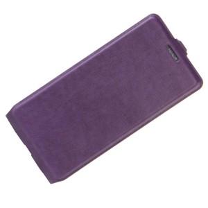 Чехол вертикальная книжка на силиконовой основе с отсеком для карт на магнитной защелке для Huawei Honor 8 Lite Фиолетовый