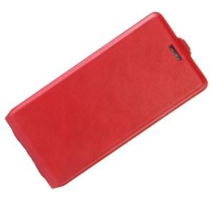 Чехол вертикальная книжка на силиконовой основе с отсеком для карт на магнитной защелке для Huawei Honor 8 Lite Красный