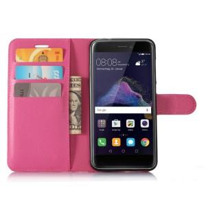 Чехол портмоне подставка на силиконовой основе с отсеком для карт на магнитной защелке для Huawei Honor 8 Lite  Пурпурный