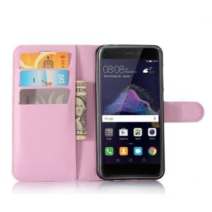 Чехол портмоне подставка на силиконовой основе с отсеком для карт на магнитной защелке для Huawei Honor 8 Lite  Розовый