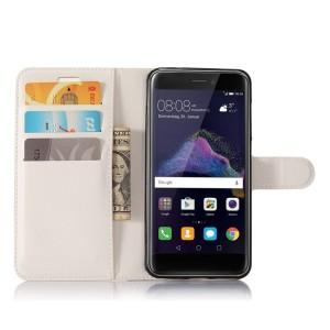 Чехол портмоне подставка на силиконовой основе с отсеком для карт на магнитной защелке для Huawei Honor 8 Lite  Белый