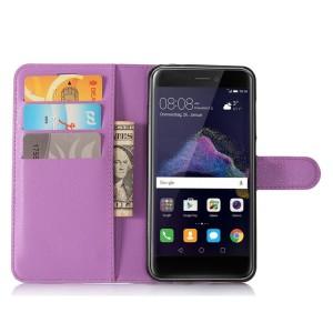 Чехол портмоне подставка на силиконовой основе с отсеком для карт на магнитной защелке для Huawei Honor 8 Lite  Фиолетовый