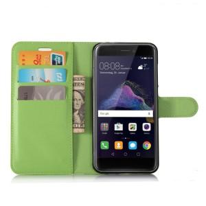 Чехол портмоне подставка на силиконовой основе с отсеком для карт на магнитной защелке для Huawei Honor 8 Lite  Зеленый
