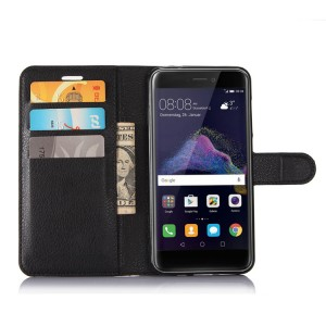 Чехол портмоне подставка на силиконовой основе с отсеком для карт на магнитной защелке для Huawei Honor 8 Lite  Черный