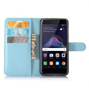 Чехол портмоне подставка на силиконовой основе с отсеком для карт на магнитной защелке для Huawei Honor 8 Lite  Голубой