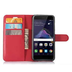 Чехол портмоне подставка на силиконовой основе с отсеком для карт на магнитной защелке для Huawei Honor 8 Lite  Красный
