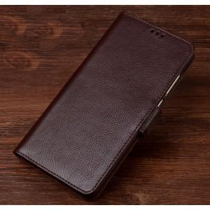 Кожаный чехол портмоне подставка (премиум нат. кожа) с крепежной застежкой для Huawei Honor 8 Lite