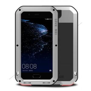 Эксклюзивный многомодульный ультрапротекторный пылевлагозащищенный ударостойкий нескользящий чехол алюминиево-цинковый сплав/силиконовый полимер с закаленным защитным стеклом для Huawei P10 Plus