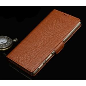 Кожаный чехол портмоне подставка (премиум нат. кожа крокодила) с крепежной застежкой для Sony Xperia XA1 Ultra