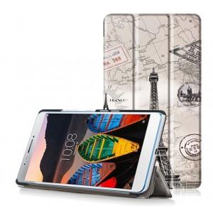 Сегментарный чехол книжка подставка на непрозрачной поликарбонатной основе с полноповерхностным принтом для Lenovo Tab 3 7 Plus