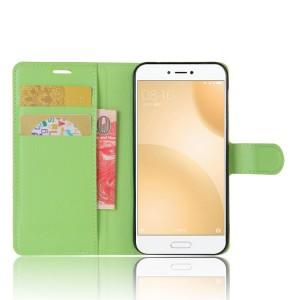 Чехол портмоне подставка на силиконовой основе с отсеком для карт на магнитной защелке для Xiaomi Mi5C  Зеленый