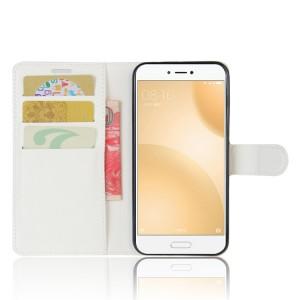 Чехол портмоне подставка на силиконовой основе с отсеком для карт на магнитной защелке для Xiaomi Mi5C  Белый