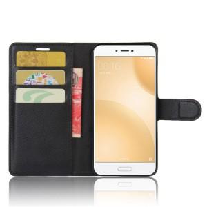 Чехол портмоне подставка на силиконовой основе с отсеком для карт на магнитной защелке для Xiaomi Mi5C  Черный