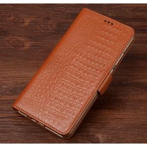 Кожаный чехол портмоне подставка (премиум нат. кожа крокодила) с крепежной застежкой для HTC U Play