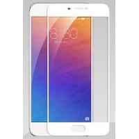 Полноэкранное ультратонкое износоустойчивое сколостойкое олеофобное защитное стекло-пленка для Meizu Pro 6 Plus  Белый