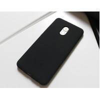 Силиконовый матовый непрозрачный чехол с нескользящим софт-тач покрытием для Meizu Pro 6 Plus  Черный