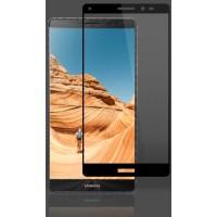 Полноэкранное ультратонкое износоустойчивое сколостойкое олеофобное защитное стекло-пленка для Huawei Ascend Mate 7  Черный