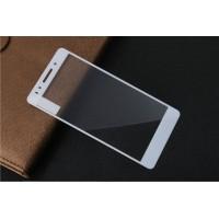 Полноэкранное ультратонкое износоустойчивое сколостойкое олеофобное защитное стекло-пленка для Huawei Honor 7  Белый