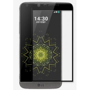 Полноэкранное ультратонкое износоустойчивое сколостойкое олеофобное защитное стекло-пленка для LG G5 Черный