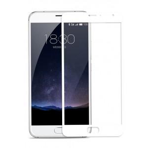 Полноэкранное ультратонкое износоустойчивое сколостойкое олеофобное защитное стекло-пленка для Meizu Pro 5 Белый