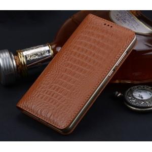 Кожаный чехол горизонтальная книжка (премиум нат. кожа крокодила) для Huawei Honor Note 8