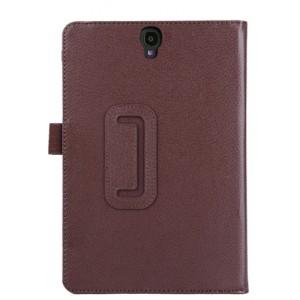 Чехол книжка подставка с рамочной защитой экрана и крепежом для стилуса для Samsung Galaxy Tab S3 Коричневый