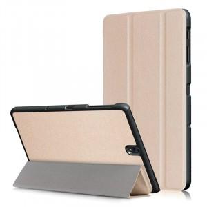 Сегментарный чехол книжка подставка на непрозрачной поликарбонатной основе для Samsung Galaxy Tab S3  Бежевый