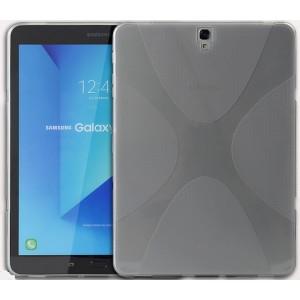 Силиконовый матовый полупрозрачный чехол с нескользящими гранями и дизайнерской текстурой X для Samsung Galaxy Tab S3  Серый