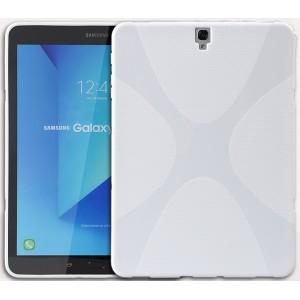 Силиконовый матовый полупрозрачный чехол с нескользящими гранями и дизайнерской текстурой X для Samsung Galaxy Tab S3  Белый
