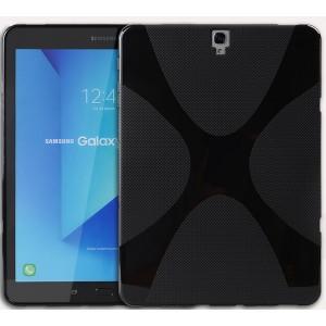 Силиконовый матовый полупрозрачный чехол с нескользящими гранями и дизайнерской текстурой X для Samsung Galaxy Tab S3  Черный