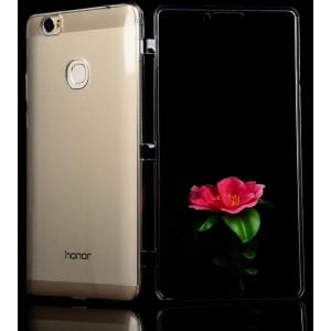 Двухкомпонентный силиконовый глянцевый транспарентный чехол горизонтальная книжка с акриловой полноразмерной транспарентной смарт крышкой для Huawei Honor Note 8