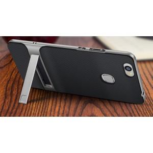 Противоударный двухкомпонентный силиконовый матовый непрозрачный чехол с поликарбонатными вставками экстрим защиты с встроенной ножкой-подставкой для Huawei Honor Note 8