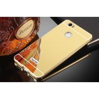 Двухкомпонентный чехол c металлическим бампером с поликарбонатной накладкой и зеркальным покрытием для Huawei Honor Note 8  Бежевый