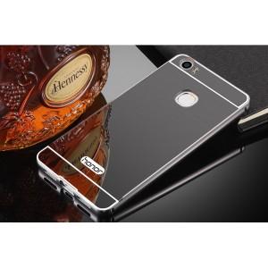 Двухкомпонентный чехол c металлическим бампером с поликарбонатной накладкой и зеркальным покрытием для Huawei Honor Note 8
