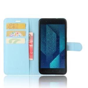 Чехол портмоне подставка на силиконовой основе с отсеком для карт на магнитной защелке для HTC One X10  Голубой