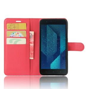 Чехол портмоне подставка на силиконовой основе с отсеком для карт на магнитной защелке для HTC One X10  Красный