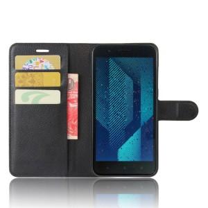 Чехол портмоне подставка на силиконовой основе с отсеком для карт на магнитной защелке для HTC One X10  Черный