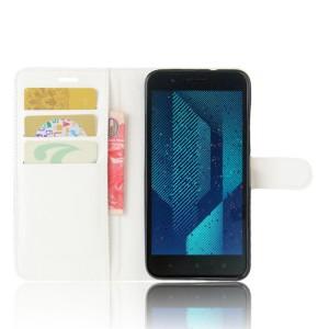 Чехол портмоне подставка на силиконовой основе с отсеком для карт на магнитной защелке для HTC One X10  Белый